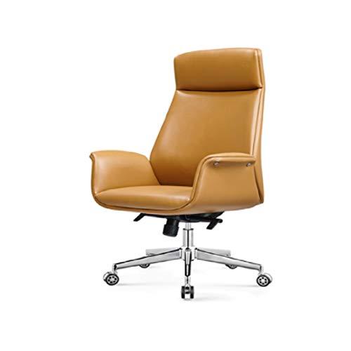 ZXN RTU Relax Sillas de oficina cómodas y seguras, silla de oficina ejecutiva, ergonómica, almohadillas de cuerpo tapizadas en capas, zona lumbar contorneada, base negra (color café)