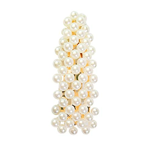 Haarschmuck/Dorical Damen Hochzeit Haarspange Braut Gold Perlen Schleife Glitzer Accessoires/Geburtstags Geschenk Party Zubehör Großer Spitzer Clip für Mama Frauen Mädchen(B)