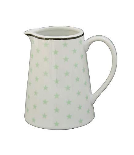 Krasilnikoff - Milchkännchen - Weiß - Sterne Mintgrün - Porzellan Höhe 9,5 cm