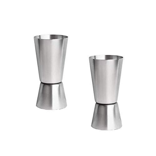 Copa medidora de bebidas 2 piezas de vidrio de medición de metal para club, bar, fiesta, vino, coctelera
