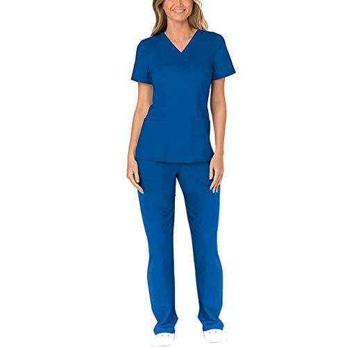 Zilosconcy Arbeitskleidung Kurzarm T-Shirt Tops + Hosen Pflege Set mit Tasche Unisex Arzt Berufsbekleidung Krankenschwester Kleidung Damen Uniformen V-Ausschnitt Oberteil BlauXXL