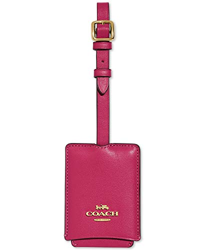 Coach Women`s Leather Luggage Tag (One Size, Bright Cherry/Gold)