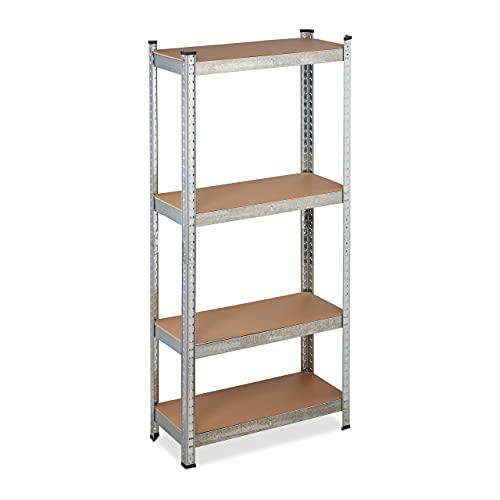Relaxdays Estantería galvanizada para cargas pesadas, carga máxima de 700 kg, 150 x 70 x 30 cm, 4 estantes, para montar, acero, color plateado