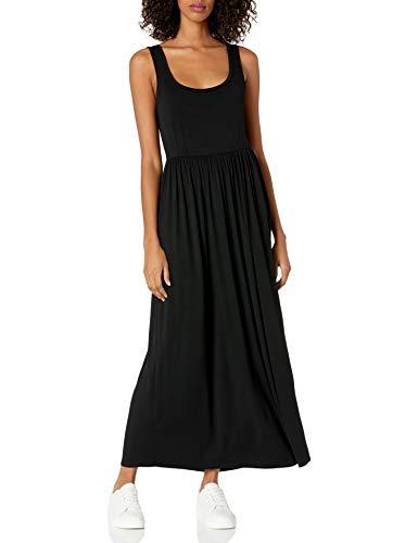 Amazon Essentials Women's Solid Tank Waisted Maxi Dress, Black, S
