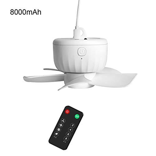 Ventilador de techo recargable por USB, con mando a distancia, silencioso, 4 velocidades, bajo consumo, para dormitorios, camas, acampadas, exteriores