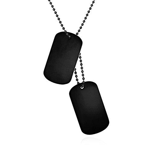 JewelryWe Schmuck Herren Dog Tag Halskette, Edelstahl 2 Hochglanz Poliert Erkennungsmarken Dog Tags Anhänger mit 60cm Kette, Schwarz