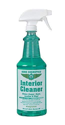 Interior Cleaner, Carpet Cleaner, Seat Cleaner, Fabric Cleaner, Cleans Carpets, Seats, Leather, Upholstery and Vinyl, Aircraft Quality for your Car Boat RV Meets Boeing and Airbus Specs 32oz
