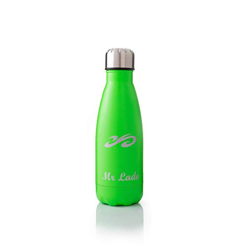 MrLado Borraccia Termica Acciaio Bottiglia Acqua Alluminio Acciaio Inox per Sport e Palestra Borraccia Acciao Bambini Water Bottle Thermos Ideale per Mantenere Fresche Le Bevande (Verde 350ml)