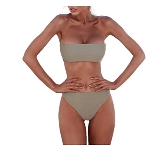 QIAOLI Traje de baño sexy para mujer, bikini sin tirantes, bandeau, sujetador pushup, traje de baño para playa, piscina, ropa de viaje (color: 04, tamaño: mediano)