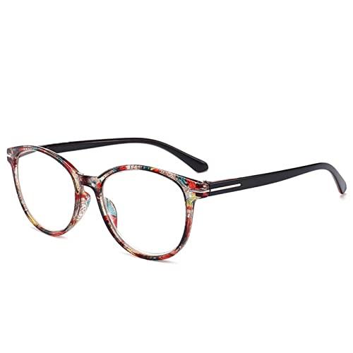 Gafas de Lectura, Gafas de Lectura Vintage de Ojo de Gato, anteojos de Marco Floral Redondos, Lentes de presbicia for Mujeres y Hombres. (Color : +200, Size : Coffee)