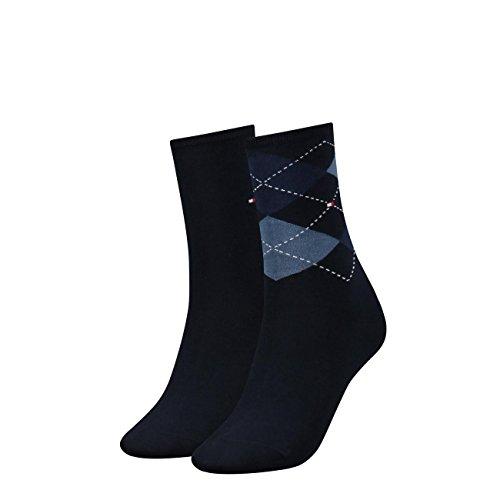 Tommy Hilfiger Damen Socken Check Casual Socken 4er Pack, Größe:35-38;Farbe:Tommy Blue (054)
