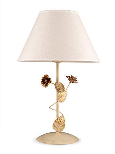 Helios Leuchten 403585 Florentiner LED Tischleuchte antik-weiß | florale Lampe Leuchte Tischlampe | Nachttischlampe cabby chic Landhaus | Schreibtischleuchte Stoffschirm Leinen