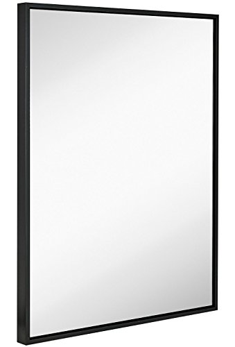 Clean Large Modern Black Frame Wall Mirror | 30″ x 40″ Contemporary Silver Backed Floating Glass Panel | Vanity, Bedroom, or Bathroom | Mirrored Rectangle Hangs Horizontal or Vertical