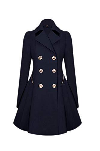 HaiDean Trench Jas Dames Lange Mouw Lapel Slim Fit Mode Eenvoudige Glamoureuze Klassieke Dubbele Borstte Jas Herfst Winter Elegante Vintage Casual Office Jas Bovenkleding