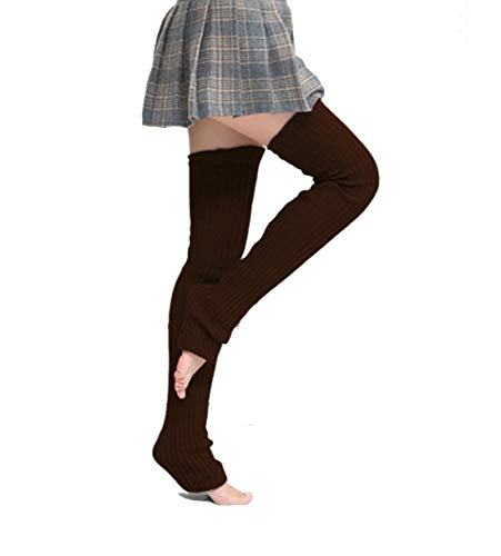 Nanxson Mujer Calientapiernas Formación Baile Pilates Ballet Yoga Calcetines largos Legging TTW0065 (L, marrón)