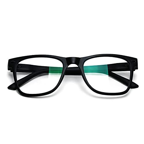 Dona Venture Rectangular Men Unbreakable Matte Finish Spectacle Frames With Anti-glare for Eye Protection, Black, Zero Power Blue Cut Lens