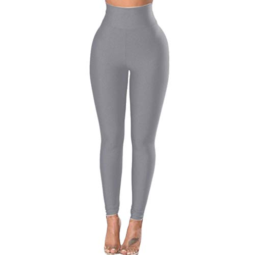 Hurrybuy High Waisted Leggings for Women - Soft Athletic Tummy Control Pants for Running Cycling Yoga Workout Gray
