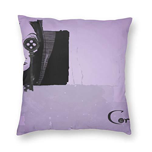 Weretlyop Coraline - Fundas de almohada cuadradas para sofá o coche, color blanco, 16 pulgadas x 16