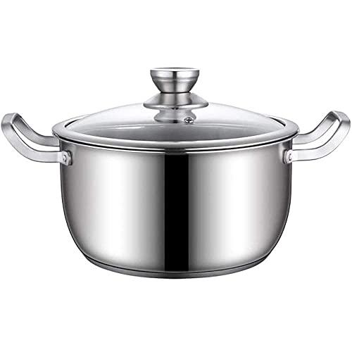 QIXIAOCYB Olla para sopa de acero inoxidable con tapa de cristal, olla con asas dobles a prueba de calor, fácil de limpiar, compatible con todas las fuentes de calor (tamaño: 22 cm)
