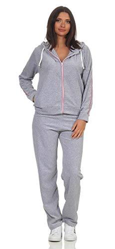 eloModa Damen Nicki Freizeitanzug Hausanzug Jogginganzug Nicki-Anzug mit Reißverschluss Gr. S - XXL Grau-Rosa M