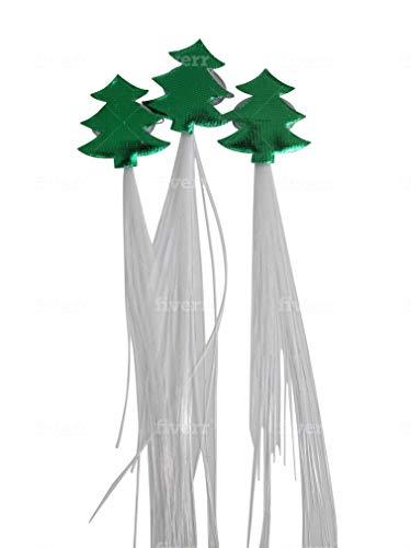 Set of 6 LED Light Up Fiber Optic Christmas Tree Barrettes