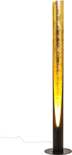 Kare Design Stehlampe Tube Duo, moderne Designer LED-Standleuchte, schwarz-gold (H/B/T) 140x26x26cm