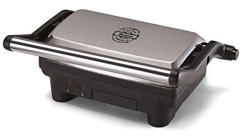 Ariete 1913 Easy Grill Griglia Elettrica con Piastre Antiaderenti, Panini Grill, Hamburger, Sandwich, Toast, Apribile a 180°, Cassetto Raccogli Grasso, 1000 W, Acciaio