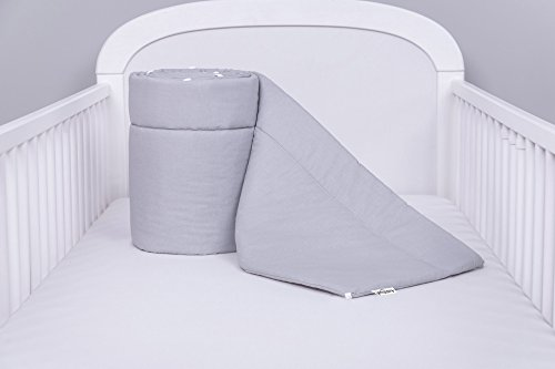 AMI Lian® Protector de cama nido-Protector de cabeza cuna 420x 30cm, 360x 30cm, 180x 30cm Cama Cuna Baby Protector de bordes cama Equipamiento Monótono: Gris Talla:360x30