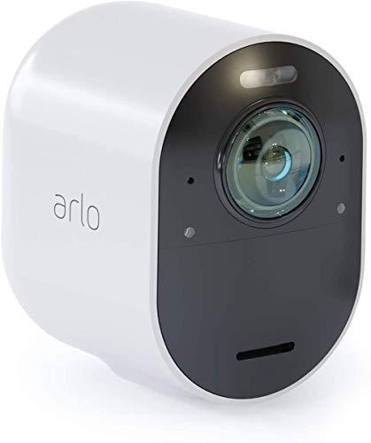 Arlo Ultra WLAN Überwachungskamera & Alarmanlage, Innen / Aussen, kabellos, Bewegungsmelder, 4K, Smart Home, Farbnachtsicht, 180° Blickwinkel, 2-Wege Audio, Spotlight, VMC5040, Weiß, SmartHub benötigt