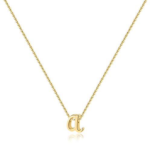 Memorjew 925 Sterling Silver Initial Necklace, Dainty Letter A Gold Gold Cursive Initial Necklace for Women Girls, Valentines Mother's Day Girls Gifts Toddler Kids Jewelry Hypoallergenic Necklace