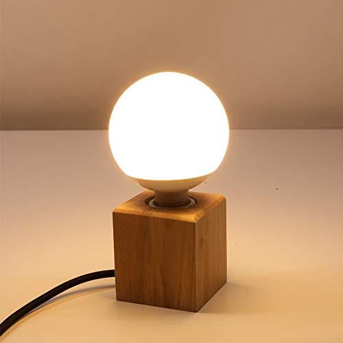 Massivholz Tischleuchte Würfel E27 LED Holz Tischlampe Retro industrial Dekoleuchte kreativ Einfachheit für Wohnzimmer Schlafzimmer Esszimmer Restaurant Gang Bett Büro Cafe Badezimmer