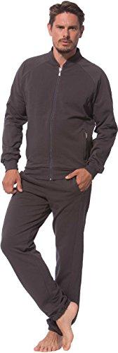 Morgenstern Herren Hausanzug Jogginganzug grau zweiteilig Trainingsanzug Freizeitanzug Jacke Hose lang für Männer Freizeit Anzug edel Größe XL