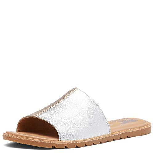 Sorel Ella II Block Slide Sandals for Women - Pure Silver - Size 12