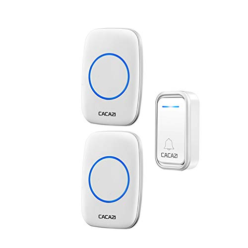 TYXS Wireless Doorbell, Waterproof Cordless Battery-Operated Doorbell with 300m Range, 38 Different ringtones, 3 Adjustable Volume Levels, Best for Home/Hospital/Office,Silver