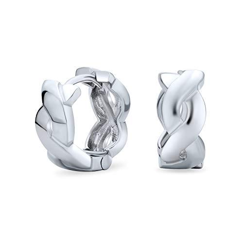Infinity Twist cuerda trenza ancha Kpop Huggie aro pendientes para mujeres para hombres 925 plata esterlina pulido