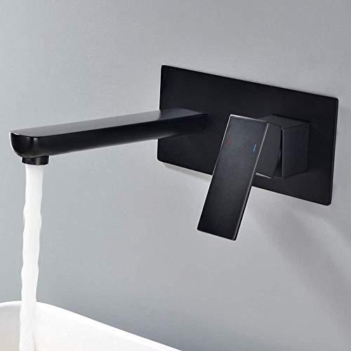 NBVCX Mechanical Parts Dark Black Square Basin Sink Faucet Mount Wall Whole Copper Mixer Elegant