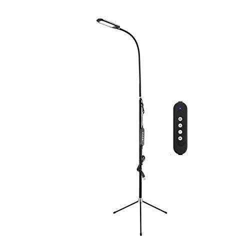 SKSNB Lámpara de pie LED Regulable de 12 W para Sala de Estar, luz de Lectura de pie con trípode Moderna con Control táctil 3000K-6000K, Adaptador USB, protección Ocular Lámpara de lectu