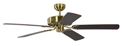 Deckenventilator ohne Beleuchtung Potkuri, Gehäuse Messing seidenmatt, Wendeflügel Mahagoni oder Mahagoni mit Rattaneinlage , 132 cm, für Räume bis zu 25m²