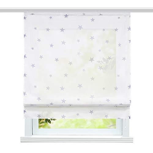 ESLIR Raffrollo mit Klettband Wohnzimmer Raffgardinen Voile Gardinen Modern Bändchenrollo Vorhänge mit Sterne Muster Grau BxH 100x140cm 1 Stück