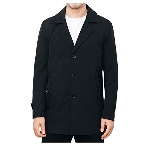 HDUFGJ Herren Winter Windbreaker Freizeit Langer Knopf Mantel Coat Herbst Fleece Boucle Pullover Jumper Softshell Outdoor Jacke Übergangs4XL(Schwarz)