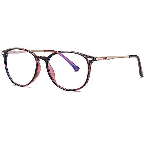 Benefast Blaulichtfilter Brille Damen Herren ohne stärke Computerbrille Gaming Brille Blaufilter PC Brille Bluelight Filter TR90 & Metal Rahmen (Rosa Leopard)
