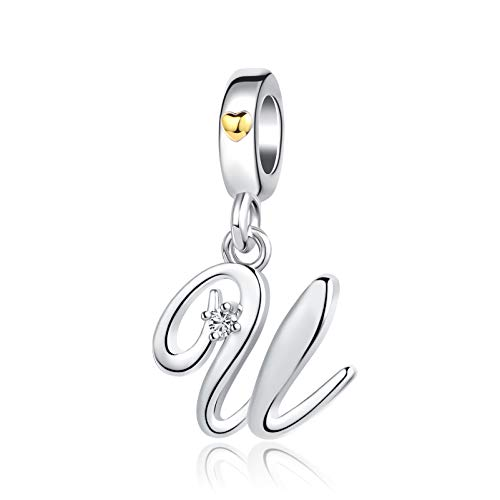 SBI Jewelry Initial Letter Charm for Bracelet Silver U Charm Crystal Alphabet Dangle Gold Heart Gift for Best Friend Birthday