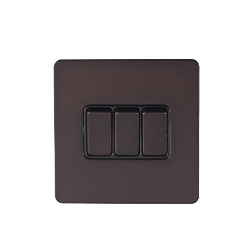 Schneider Electric - Placca piatta senza viti, interruttore a 3 vie, 16AX, GGBGU1432BDBP, bronzo scuro con inserto nero
