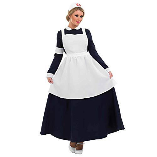 Womens Victorian Nurse Costume Adults 1900s Historical Wartime Uniform - Small