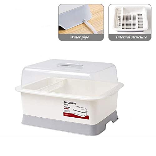 Boîte de rangement de cuisine Vaisselle craintif en rack tricotage rack royal craint de vaisselle, boîtier de séchage à la vaisselle avec panneau de vidange et couvercle portable cuisine tablette boît