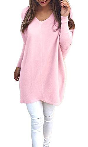 Minetom Mujer Invierno Jerséy Suéter Cuello V Casual Tejido De Punto Vestido De Manga Larga Pink ES 36