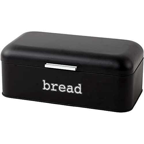Bread Box for Kitchen Counter - Stainless Steel Large Bread Bin Storage Container Holder For Loaves, Pastries & More - Retro Vintage Design, Matte Black, 16.75 x 9 x 6.5 inches