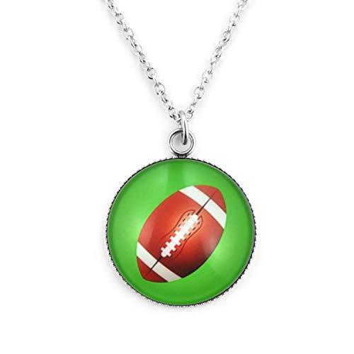 SCHMUCKZUCKER Damen Kette mit Anhänger Motiv Football Edelstahl Silber Grün Großer Anhänger (25mm) - Kurze Kette (45cm)