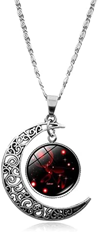 12 Constellation Opening large release sale Necklace Crescent Moon Galaxy Pendant store Zodiac As
