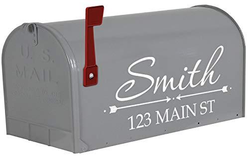 VWAQ Mailbox Custom Name Decal Personalized Mailbox Address Vinyl Sticker - TTC17 (White)